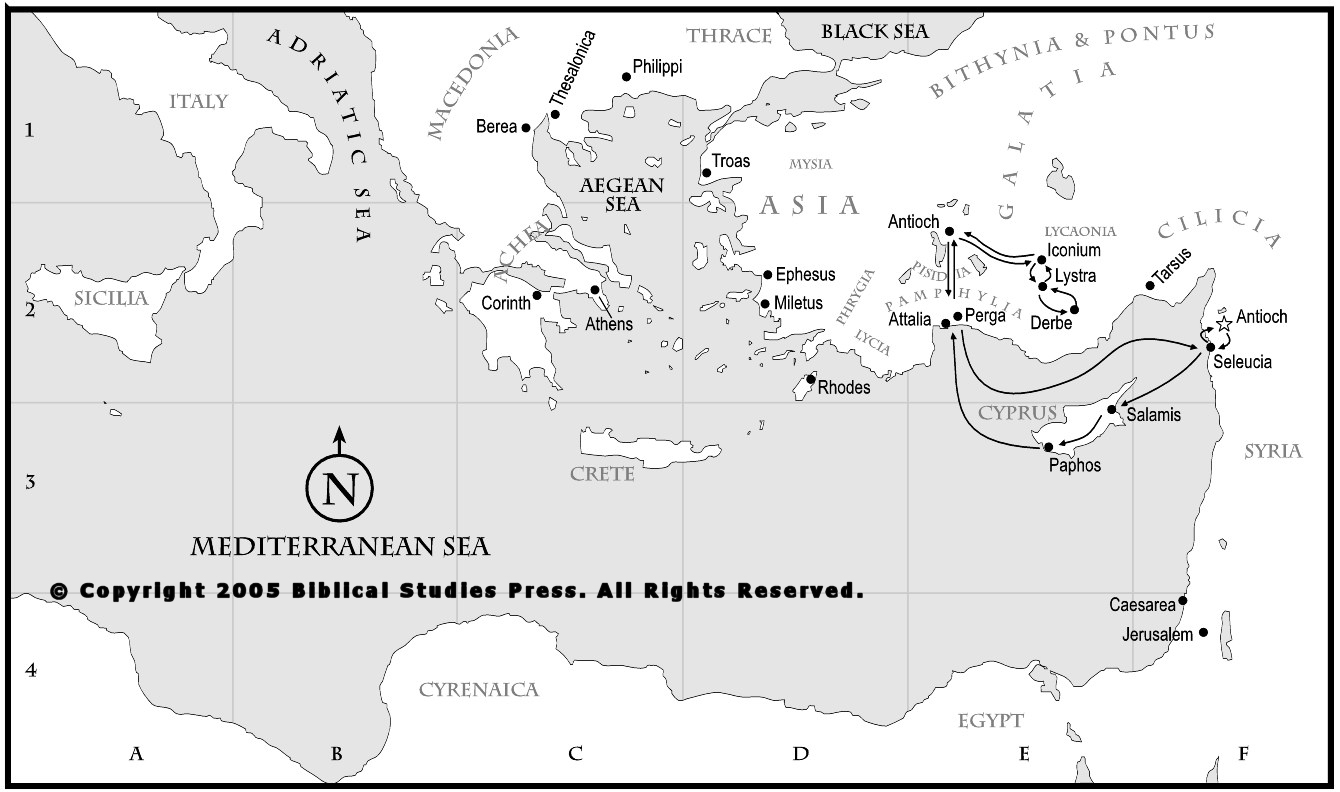 Map Of Pauls First Missionary Journey